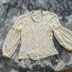 Studio m sheer cream antique looking blouse.
